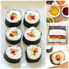 Homemade rainbow sushi recipe - simple vegetarian sushi idea - perfect for lunch boxes - Eats Amazing UK