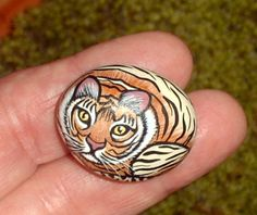 Bengal tiger, vertical garden globe, miniature animal, for your tiny terrain inside a moss terrarium, hand painted rocks by RockArtiste on Etsy, $25.00