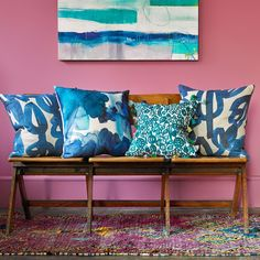 The Blue Skies cushion features inky watercolour marks and bold expressive brushstrokes. Deep tones of blue and teal come together to create a Living Room Accessories, Home Decor Accessories, Printed Cushions, Decorative Cushions, Bluebellgray, Dark Interiors, Colorful Interiors, Fade Color, Contemporary Interior Design