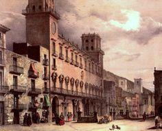 Memoria gráfica de España.: Alicante- Ayuntamiento de Alicante. Grabado romántico coloreado, mediados del siglo XIX.