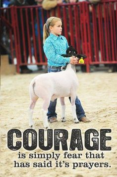 Courage is simply feat that has said it's prayers. Livestock Motivation from Ranch House Designs. Country Quotes, Country Life, Country Girls, Livestock Judging, Showing Livestock, Ffa, Show Steers, Show Goats, Show Cattle