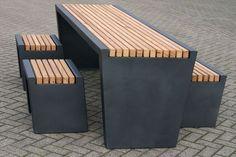 Contemporary picnic table CUBIC Grijsen park & straatdesign - Best Home Idea Concrete Patio Designs, Concrete Table, Concrete Furniture, Concrete Wood, Cool Furniture, Furniture Design, Furniture Cleaning, Wooden Furniture, Diy Picnic Table