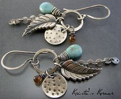 Sterling Silver and Gemstone Leaf Dangle Earrings by kristaskorner, $55.00