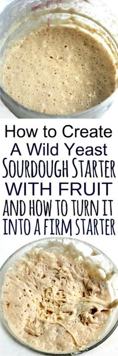 How to create a sourdough starter by capturing wild yeast from the air via fruit, and how to turn part of that starter into a firm sourdough starter for bread recipes that call for it. This sourdough starter will be your new pet because it's alive! Sourdough Bread Starter, Sourdough Recipes, Bread Recipes, Starter Recipes, Top Recipes, Recipies, Baking Basics, Artisan Bread, Caramel Apples