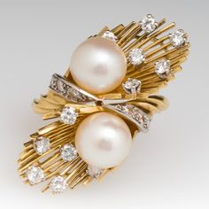1960's Mid-Century Pearl & Diamond Ring 14K & Platinum