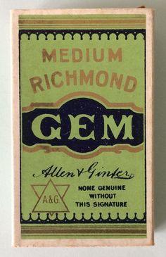 Empty Cigarette Pack (Allen & Ginter) - Richmond Gem Cigarettes | eBay