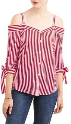 Millenium Women's Stripe Off the Shoulder Tie Sleeve Top Classy Outfits, Casual Outfits, Shirt Refashion, Summer Outfits Women, African Fashion, Blouse Designs, Blouses For Women, Trendy Fashion, Fashion Dresses