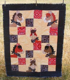 Baby or Toddler Quilt Horses in bandannas with black and red bandanna print with black edge and red bandanna print on back