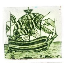 William De Morgan 'Galleon' a Green Glazed Tile, 1898 Victorian Tiles, Tile Art, Tile Design, Rug Making, Cross Stitch Embroidery, Coloring Pages, Interiors, History, Green