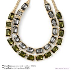 Versailles Cut Crystal Necklace in Olivine or Black Diamond.  $158 each or $40 as a hostess gift