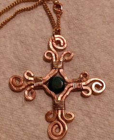 Hammered Copper Celtic Cross Pendant With Green Jasper Artisan Made by EarthArtsNW by Raven Moore