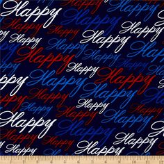 """Kanvas All American Happy Blue from @fabricdotcom  Designed by Maria Kalinowski for Benartex, this """"Happy"""" printed cotton fabric is perfect for quilting, apparel and home decor accents. Colors include shades of red, white, and blue. Getting ready for a Fourth of July celebration? Independence Day?... just to name a few. This all american themed fabric is the perfect combination for your red, white and blue events. Oh, don't forget the fireworks!"""