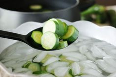 How to Freeze Zucchini - cool in ice water