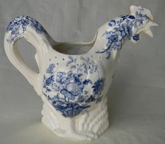 RARE Vintage English Blue Transferware Rooster Pitcher Charlotte Basket of Roses
