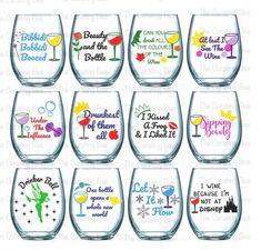 Princess inspired Wine Glasses Cinderella Little Mermaid Disney Wine Glasses, Birthday Wine Glasses, Funny Wine Glasses, Wein Parties, Wine Glass Sayings, Wine Gift Baskets, Basket Gift, Circuit Projects, Glitter Vinyl