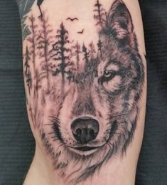 Image result for wolf and trees tattoo