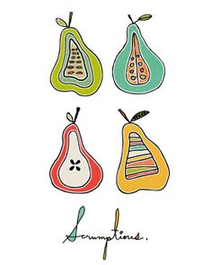 Love, love, love this print by @Kellie Dyne Bloxsom-Rys // Pear Art Print by ArtByKellie on Etsy, $15.00