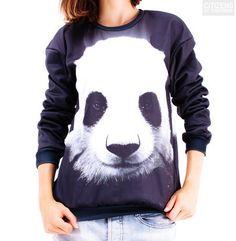 Moletom estilo pullover unissex com estampa de um urso panda.