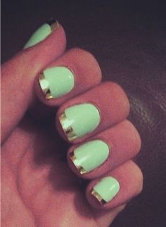 Mint green and gold nails