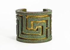 Labyrinth Cuff Bracelet patine over bronze by Preppytrendy on Etsy