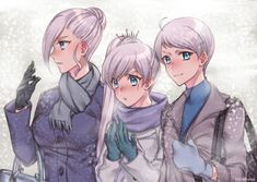 Schnee Siblings: Winter, Weiss, and Whitley Rwby Anime, Rwby Fanart, Rwby Winter, Rwby Weiss, Rwby Bumblebee, Anime Siblings, Winter Schnee, Blake Belladonna, Team Rwby