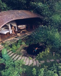 Floating and flying above Moon House nestled in the jungle at Bambu Indah. Vacation Trips, Dream Vacations, Jungle House, Bamboo Architecture, Cool Tree Houses, Tree House Designs, Bamboo House, Places To Travel, Travel Stuff