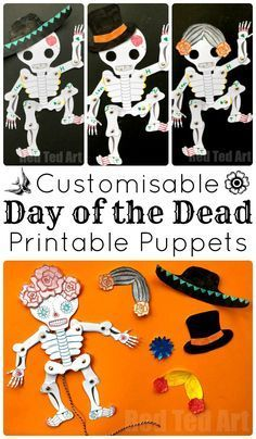 Day of the Dead Paper Puppet Template - if you love Sugar Skull DIYs, check out this great Skeleton Paper Puppet - leave it plain for Halloween or customise it as you wish for Day of the Dead. It is a great way to get arty, with the help of a super simple Kids Crafts, Halloween Crafts For Kids, Halloween Activities, Halloween Stuff, Halloween Makeup, Halloween Costumes, Day Of Dead, Day Of The Dead Party, Fete Halloween