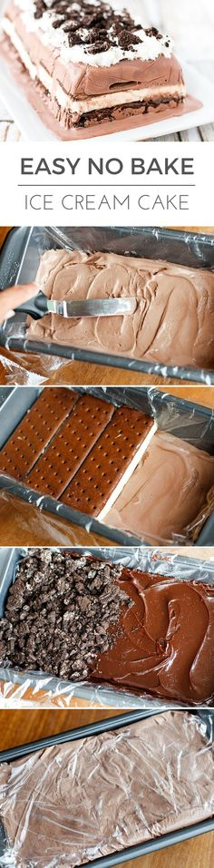 Ice Cream Cake Recipe -- this no bake ice cream cake can be prepared in about 5 minutes (plus freezing time). Layered with chocolate ice cream, vanilla ice cream sandwiches, hot fudge topping, and cru