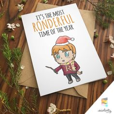 ron weasley card harry potter greeting card hermione couple cute christmas card punny quidditch pun gryffindor