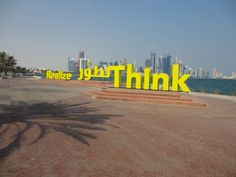 These yellow word sculptures were standing along the corniche in Doha Lego Words, Yellow Words, Joy And Happiness, Shades Of Yellow, Sculptures, Doha, Inspiration, Color, Art