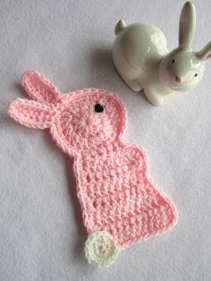 Crochet Pink Bunny Rabbit Pot Holder Easter by crochetedbycharlene