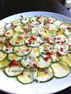 La Cucina del Sole: Recept voor Red een kaas: carpaccio di zucchine (courgette carpaccio)