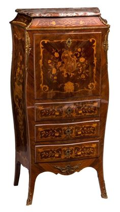 A 19thC rosewood secrétaire à abattant with marquetry and a Rouge royal marble top, H 131 - W 69