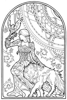 This intrepid woman is in the company of her hawk and her enchanted wolf. Drawn in Art Nouveau style Panda Coloring Pages, Printable Flower Coloring Pages, Coloring Book Art, Colouring Pages, Colouring Sheets For Adults, Coloring Sheets, Free Adult Coloring, Coloring Pages Inspirational, Muse Art