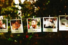 Polaroid Name Cards: Showcase the silly and sweet moments of your guests and get them in the mood to make some more memories at your event. (via Intimate Weddings)