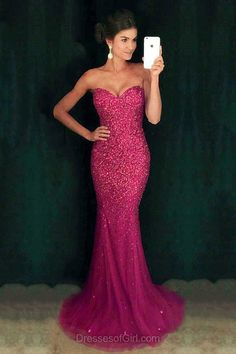 Sweetheart Prom Dress, Mermaid Prom Dresses, Fuchsia Evening Gowns, Sexy Party Dresses, Sequined Formal Dresses