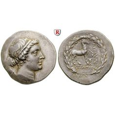 Aiolis, Kyme, Tetradrachme 165-140 v.Chr., vz: Tetradrachme 33 mm 165-140 v.Chr. Magistrat Straton. Kopf der Amazone Kyme r. / Pferd… #coins