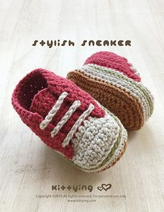 This CROCHET PATTERN Baby Stylish Baby Sneakers Crochet Patterns Baby Shoes Crochet Booties Crochet Pattern Newborn Sneakers Newborn Shoes Red is just one of the custom, handmade pieces you'll find in our patterns & blueprints shops. by Crochet Pattern K Crochet Booties Pattern, Newborn Crochet Patterns, Crochet Baby Shoes, Crochet Baby Booties, Baby Patterns, Hand Crochet, Crochet Yarn, Kids Crochet, Newborn Shoes