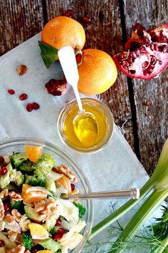 Salad Idea: Broccoli, pomegranate, fennel, avocado, & walnuts with a tangerine/evoo dressing