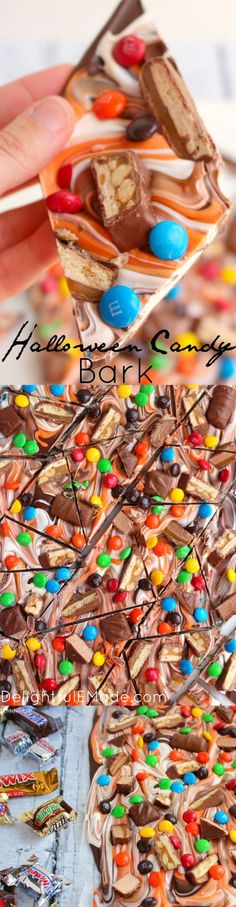 The perfect way to enjoy all your favorite candy in one glorious bite! My Halloween Candy Bark is made with delicious chocolate, white and orange candy melts, and bejeweled with loads of candy! A great treat to add to any Halloween BOO basket!