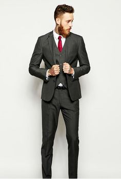 Slim fit suit in charcoal gray