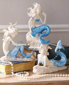 Mermaid Figurine Statue Blue & White Shimmering Coastal Ocean Home Decor Ocean Home Decor, Home Decor Sets, Coastal Decor, Mermaid Wall Decor, Mermaid Bathroom, Mermaid Cove, Mermaid Art, Mermaid Paintings, Anime Elf
