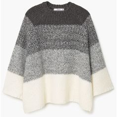 MANGO Oversize Wool-Blend Sweater (3,255 DOP) ❤ liked on Polyvore featuring tops, sweaters, cable sweater, ombre sweater, oversized cable sweater, oversized sweaters and long sleeve oversized top