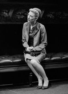 Cate Blanchett in Plenty by David Hare (born 1947), Albery Theatre, London, England, 1999.