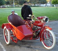 Indian V-Twin motorcycle with Vintage sidecar by Royal Enfield