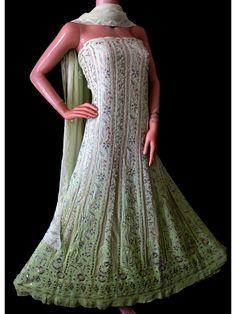 ISHIEQA's Pure Georgette Green Chikankari Dress Material-RC0104D