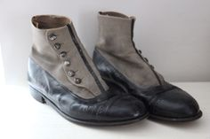 Antique Victorian leather high button boots size 42