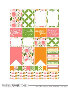 Bright Flowers Free Printable Planner stickers for the classic size Happy Planner.  Includes 2 full pages of planner stickers.