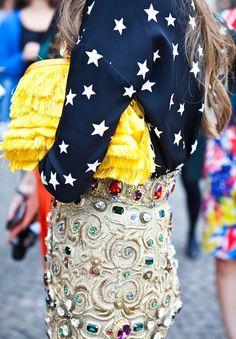 Anna Dello Russo - star print with rhinestone encrusted skirt