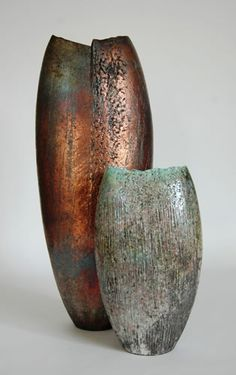 Genius handbuilt raku-fired ceramic forms by Stephen Murfitt.
